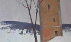 Sergei Osipov.  Izborsk. The Tower of the XVII century. Oil on canvas, 74х52. 1967