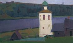 Sergei Osipov.  Izborsk. Bell Tower.Oil on canvas, 51,5х73,5. 1967