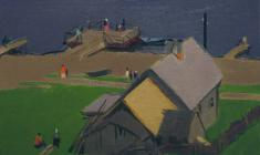 Sergei Osipov. Pier on the Volga. Oil on canvas, 42х57,5. 1959