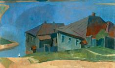 Sergei Osipov.  Houses on the Volga. Oil on canvas, 57х66. 1959