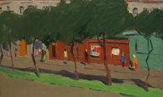 Sergei Osipov.  Little Street in Pskov. Oil on cardboard, 35х49,4. 1966