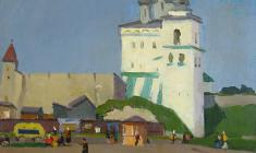 Sergei Osipov. Market in Pskov. Oil on canvas, 50х68,5. 1959