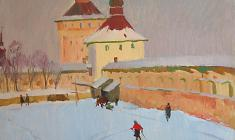 Sergei Osipov.  Pskov Kremlin.Oil on canvas, 51,5х73. 1970