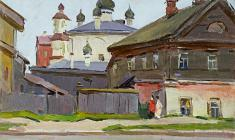 Sergei Osipov.  Pskov Little Street. Oil on cardboard,35х50. 1951