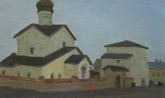 Sergei Osipov. Pskov. Twilith. Oil on canvas, 41х57. 1958
