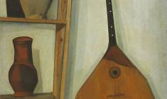 Sergei Osipov. Still-life with a Balalaika and a Shelf.Oil on canvas,81х63. 1970