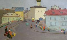 Sergei Osipov. Street in Pskov. Oil on canvas, 50,5х69,5. 1951