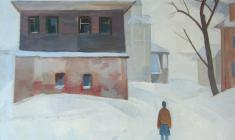Sergei Osipov.  Winter.Staritsa. Oil on canvas, 65х57. 1974