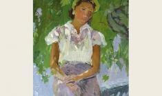 Victor Otiev. Аnna.  Oil on cardboard,33,5х24.,1958