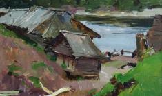 Victor Otiev. On the Sukhona. Oil on cardboard, 24х30. 1957