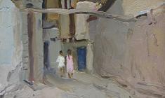 Victor Otiev. Old Tashkent.   Oil on cardboard, 33,5х24,5.,1959