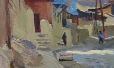 Victor Otiev. Old Tbilisi.  Oil on cardboard, 31х24. 1959