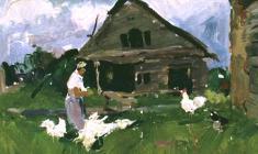Victor Otiev. Veligoshi Village.. К Oil on cardboard, 24х26