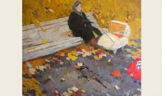 Nikolay Pozdneev. Autumn Day.  Oil on canvas, 133х160. 1961