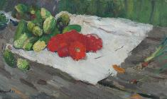Nikolay Pozdneev. Cucamber and Tomatoes.  Oil on canvas, 50х96. 1959