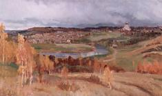 Eugeny Pozdnyakov. Autumn Theme. Oil on canvas, 51х96. 1963