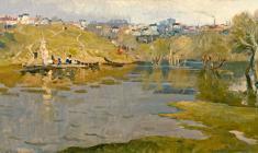 Eugeny Pozdnyakov. Flood. Oil on canvas, 51х96. 1963