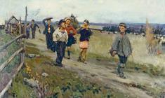 Nikolay Pozdneev. From the School.  Oil on canvas, 75х120. 1956