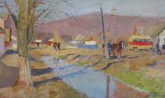 Nikolay Pozdneev. Hot Brook Village.  Oil on canvas, 35х64.,1964