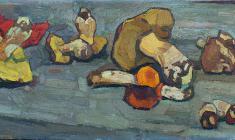 Nikolay Pozdneev. Last Mushrooms.  Oil on canvas, 40х104. 1965