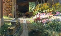 Eugeny Pozdnyakov. Courtyard in Maloyaroslavets. Oil on cardboard, 48,5х50. 1959