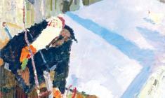Nikolay Pozdneev. Natasha in the Stroller.  Oil on canvas, 140,5х95. 1960