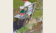 Nikolay Pozdneev. On the Bench.  Oil on canvas, 74х47. 1960