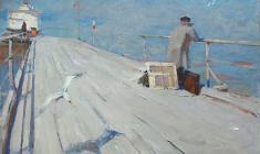 Nikolay Pozdneev. On the Pier.  Oil on canvas, 81х121. 1959