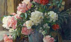 Eugeny Pozdnyakov. Peonies. Oil on canvas, 76,5х83,5. 1959