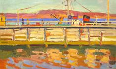 Nikolay Pozdneev. Pier in Kandalaksha. Oil on cardboard, 49,5х70. 1967