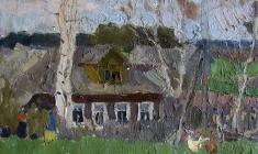 Nikolay Pozdneev. Etude with a House. Oil on cardboard, 39,5х52. 1969
