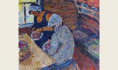 Nikolay Pozdneev. Sorting of the Berries. Oil on cardboard, 39,5х36. 1966