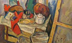 Nikolay Pozdneev. Stil-life. In the Studia.  Oil on canvas, 86х101,5. 1969