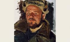 Alexander Pushnin.Soldier. Etude. Oil on canvas, 33х24.  1951