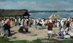 Galina Rumiantseva. Market in Vasilsursk on the Volga. Oil on canvas,19х38,4. 1955