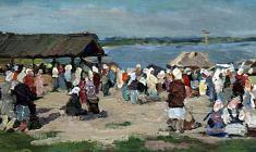 Galina Rumiantseva. Market in Vasilsursk on the Volga. Oil on canvas,19х38,4. 1955