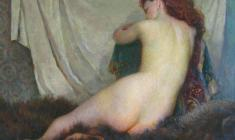 Galina Rumiantseva. Naked Model.Oil on canvas,79х96. 1960