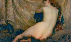 Galina Rumiantseva. Naked Model.Oil on canvas,79х96. 1975