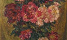 Kapitolina Rumiantseva. Peonies.  Oil on canvas, 60х50. 1971
