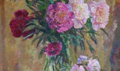 Kapitolina Rumiantseva. Peonies. Oil on canvas,  67,5х59,5. 1990