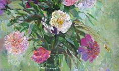 Kapitolina Rumiantseva. Peonies. Oil on canvas, 80х60. 1991