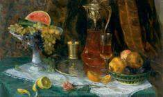 Kapitolina Rumiantseva.Still-life with Fruits.  Oil on canvas, 64,5х84,5. 1965