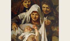 "Lev Russov. Birth. From the series ""Til Eulenspiegel"". Oil on canvas, 100х75. 1956"
