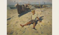 Lev Russov.  Boy and the Sea. Oil on canvas, 56,5х73. 1957