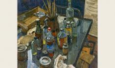 Lev Russov. Kitchen. Still-life. Oil on canvas,85х75. 1979