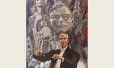 Lev Russov. The Leningrad Symphony. Conductor Eugeny Mravinsky.Oil on canvas,174х122. 1980