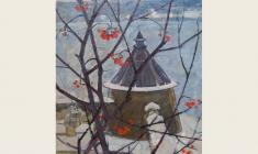 Lev Russov. Ancient Pskov. Oil on cardboard, 68х48. 1972
