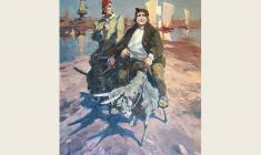 "Lev Russov. In the Vastness of the Motherland. From the series ""Til Eulenspiegel"". Oil on canvas, 100х75. 1956"