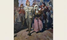 "Lev Russov. To Torture. From the series ""Til Eulenspiegel"".  Oil on canvas,100х75. 1956"