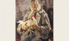 Lev Russov. Aunt Polya with Hen. Oil on canvas, 108х84. 1961